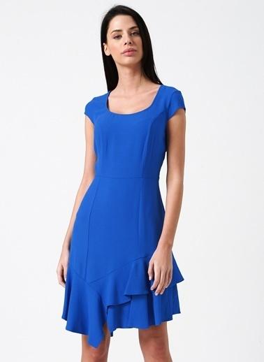 Random Kısa Kollu Volanlı Elbise Mavi